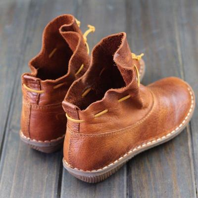 Women Comfy Slip-On Ankle Booties Vintage Flat Heel Boots