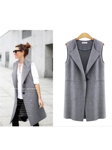 Lapel Sleeveless Casual Coat