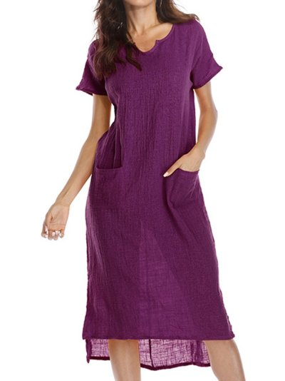 Women Summer Dress Shift Daily Casual Solid Dress