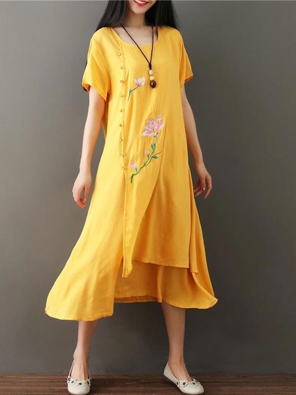 cotton line vintage embroidery floral short sleeve A-Line maxi dress