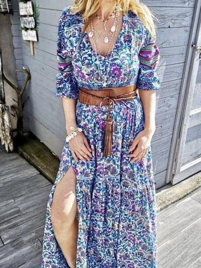 Cotton-Blend V Neck Floral Casual Dresses