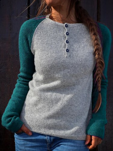 Color Block Button Down Sweater