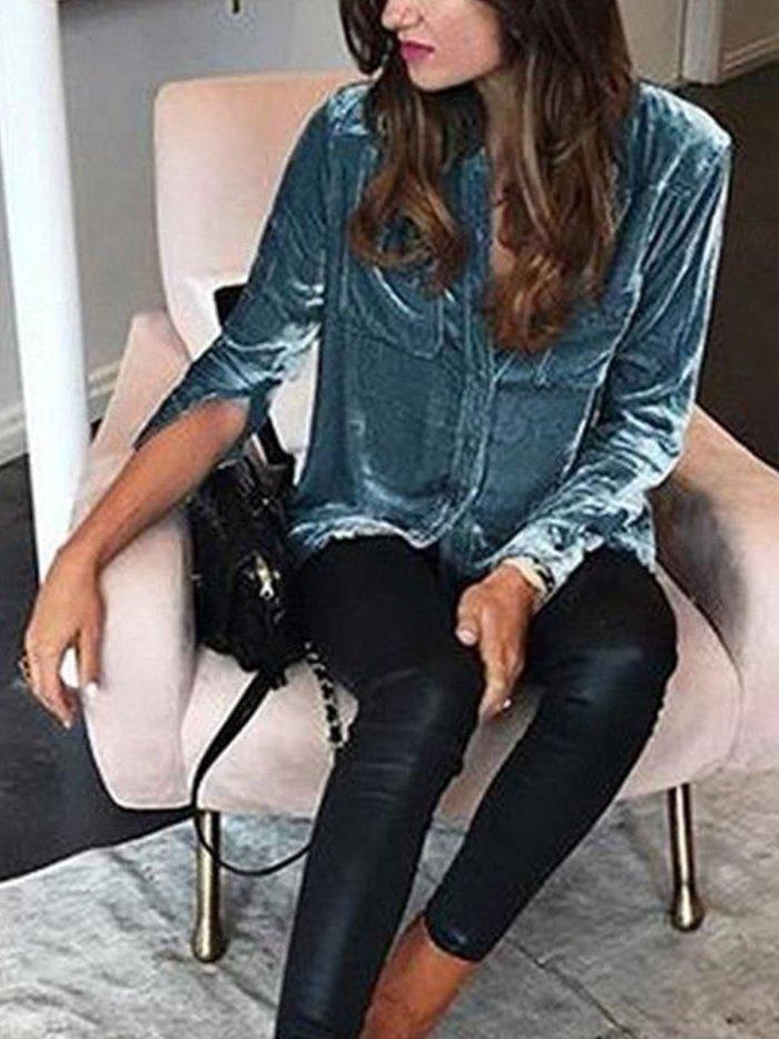 Women Casual Long Sleeve Lapel Blouse