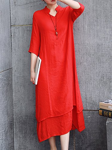 V neck Women Casual Dress Shift Daily Linen Paneled Dress