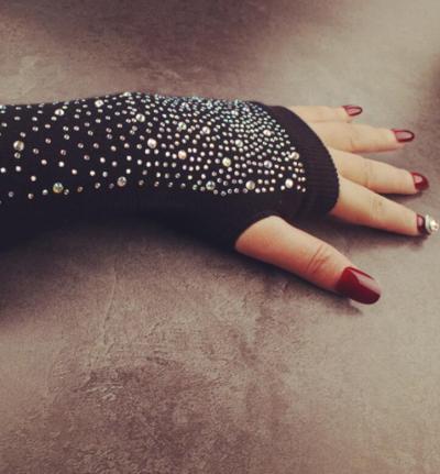 Women's Autumn Winter Cotton Knitted Long Glove Female Diamonds Sexy Fingerless Long Arm Sleeve