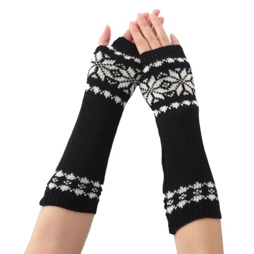 Knitted Long Fingerless Gloves Mitten Vintage Print Soft Mitten