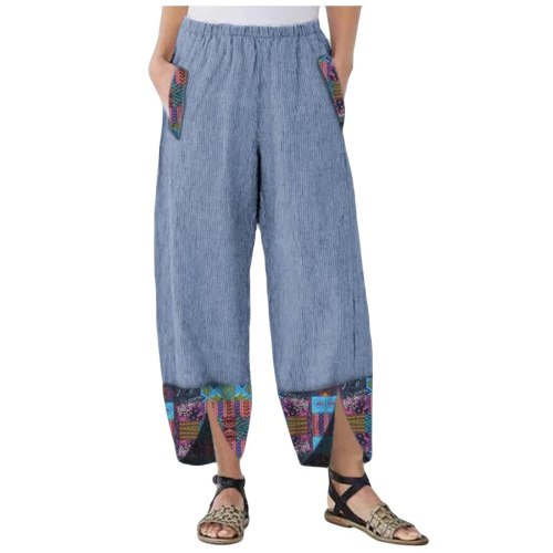 Women High Waist Pants Casual Print Wide Leg Vintage Loose Oversize Pockets Elastic Waist Autunm Spring Joggers