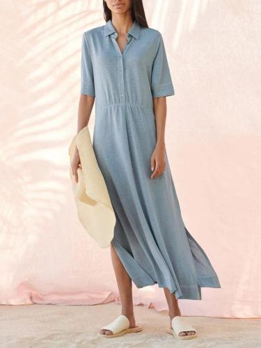 Blue Solid Cotton-Blend Shirt Collar Short Sleeve Dresses