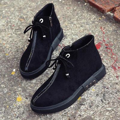 Women Flocking Booties Casual Comfort Zipper Shoes
