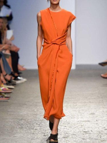 Orange Round Neck Sleeveless Cotton-Blend Patchwork Dresses