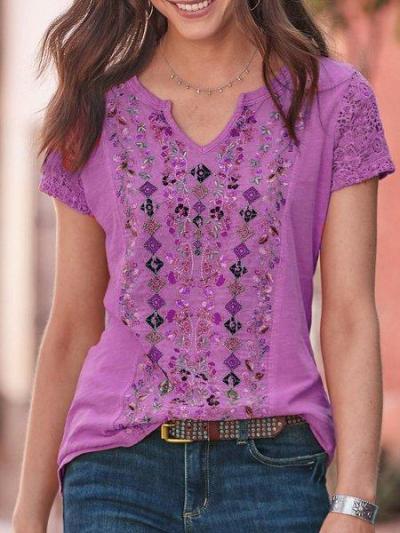 Short Sleeve Plain Casual Shirts & Tops