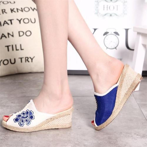 Sandkini Peep Toe Cloth Flower Wedge Heel Slippers