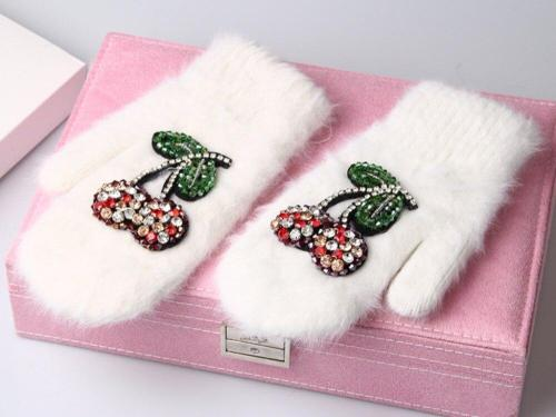 Winter Gloves Luxury Crystal Cherry Decoration Rabbit Fur Gloves