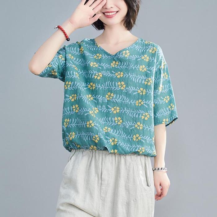 Womens Tops Blouses Summer Fashion Print Cotton Short Sleeve Loose Shirt
