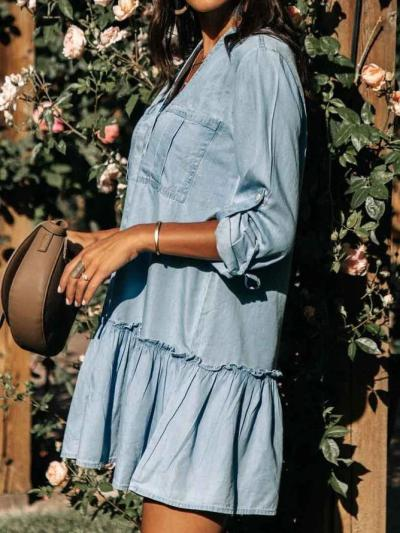 Cotton-Blend Casual Shirt Collar A-Line Dresses
