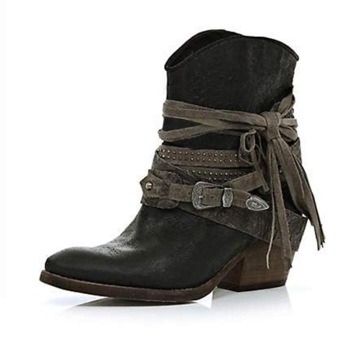 Leatherette Low Heel Boots