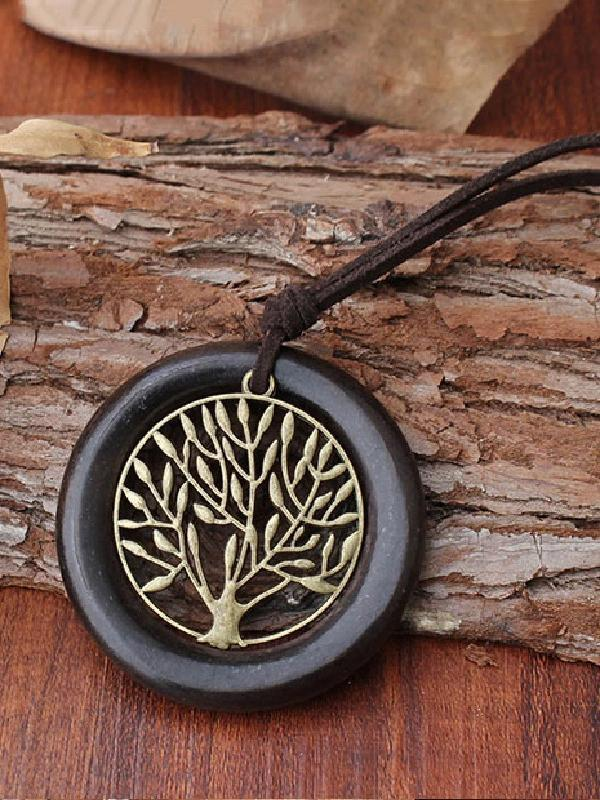 National Wood Ring Necklace