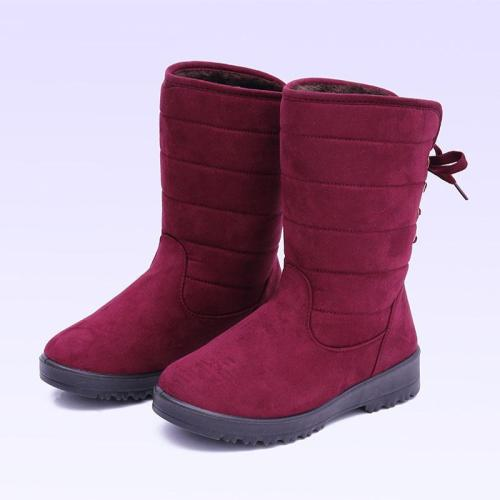 Women Lace-Up Thicken Mid-Calf Snow Boots