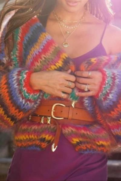 Casual Vacation Rainbow Pop Printed Knit Sweater Cardigan