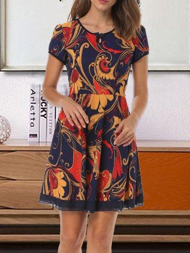 Short Sleeve Round Neck Floral Plus Sizes Dresses