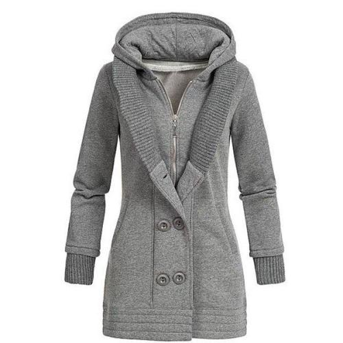 Buttoned Casual Hoodie Long Sleeve Coat