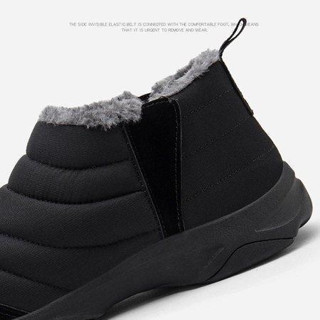 Unisex Waterproof Fur Lining Slip On Snow Boots