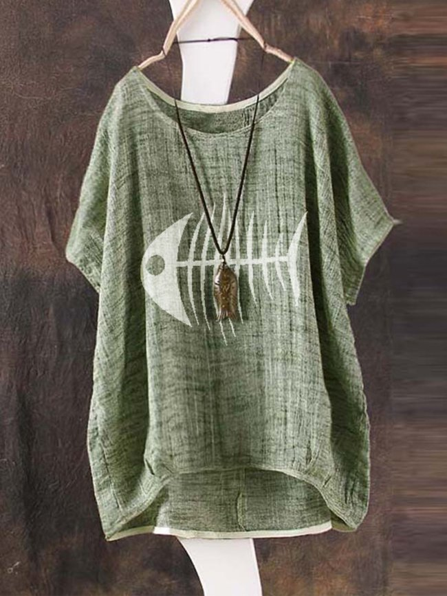Round Neck Casual Animal Cotton Shirts & Tops