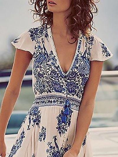 Women Print Dress Swing Daytime Slit Floral Dress