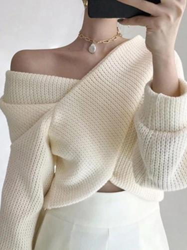 Single-Shoulder Solid-Color Long-Sleeved Sweater