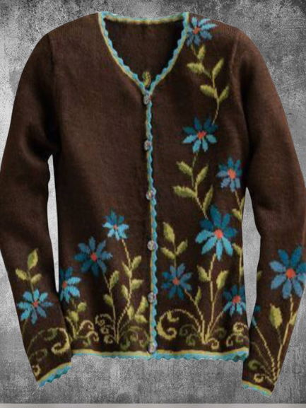 Long Sleeve Cotton-blend Crew Neck Casual Floral Vintage Knitted Cardigans
