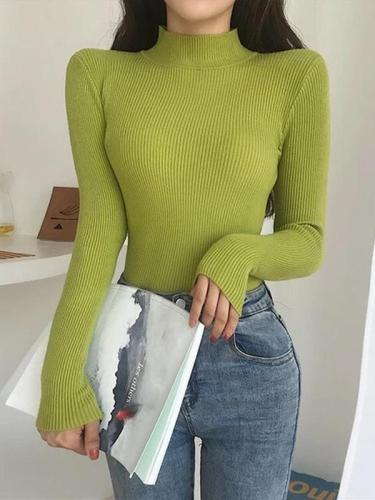 Turtleneck Pullover Chic Long Sleeve Warm Knitted Sweater