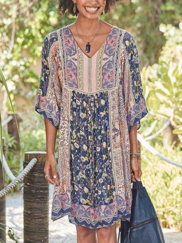 Half Sleeve Casual Cotton-Blend V Neck Dresses