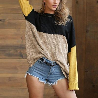 Women's Foreign Trade Women's Autumn and Winter Knit Sweater Single Collar Color Matching Pullover Sweater Women Womens Sweater