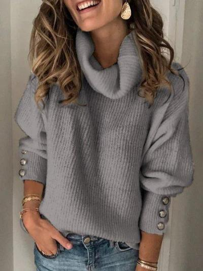 Plain Turtleneck Buttoned Casual Sweaters
