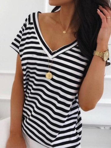 Women Casual Tops Tunic Striped T Shirt