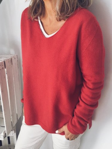 Red V Neck Casual Cotton-Blend Shirts & Tops