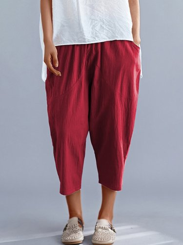 Plus Size Women Elastic Waist Loose Cotton And Linen Solid Casual Harlan Pants