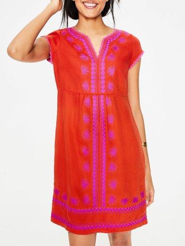 Printed/dyed V Neck Short Sleeve Dresses