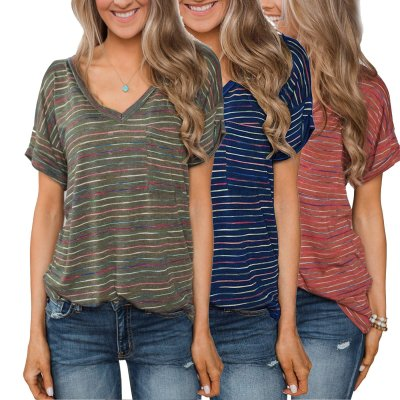Plus Size Casual Striped V Neck Short Sleeve Tops