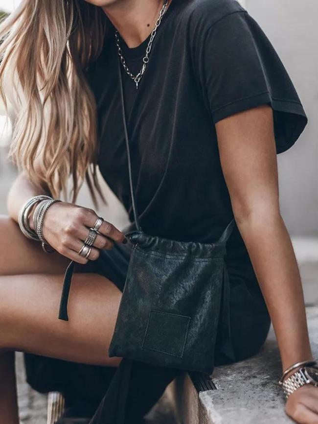 Black Short Sleeve Casual Dresses
