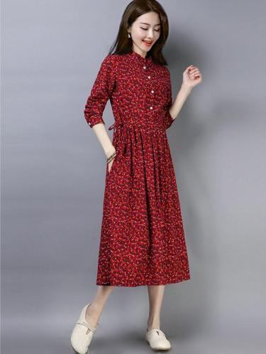Plus Size Slim Cotton Linen Casual Floral Printed Dresses