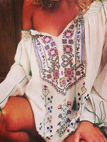 Floral-Print Vintage V Neck Shirts & Tops