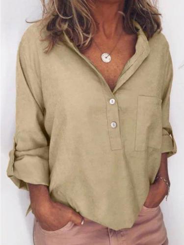 Casual Linen Pockets Long Sleeve Blouses&shirts