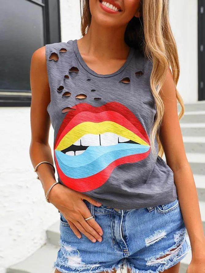 Gray Club Party Daily Printed Cotton Ripped Casual Sleeveless Shift Shirts & Tops