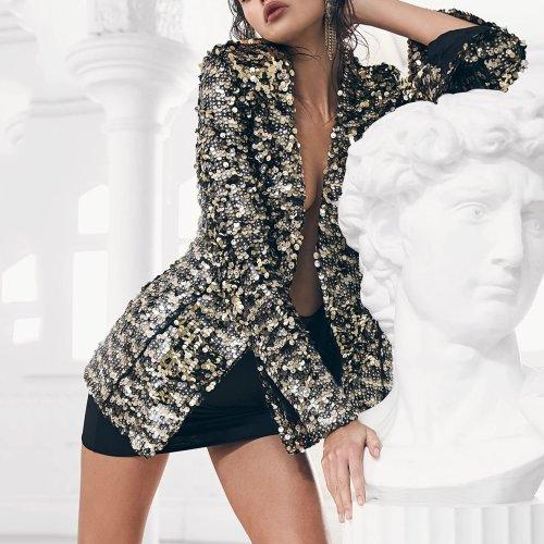 Fashion Long Sleeve Bead Piece Blazer