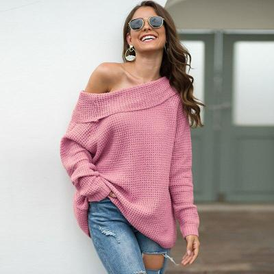 2020 Autumn and Winter Solid Color Ladies' Sweater Horizontal Neck Loose Sweater cute sweater  off shoulder sweater  pullover