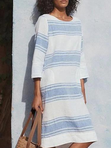 Light Blue Linen 3/4 Sleeve Crew Neck Dresses