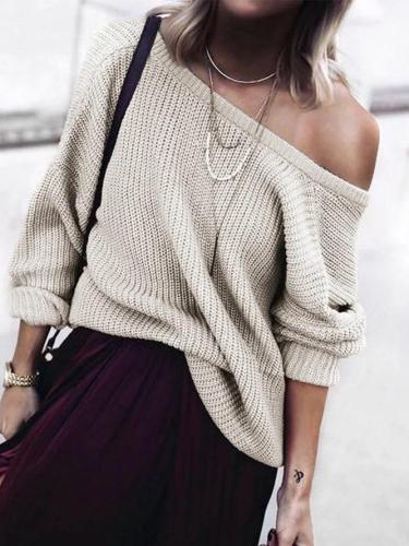 Round Neck Knitted Long Sleeve Sweater