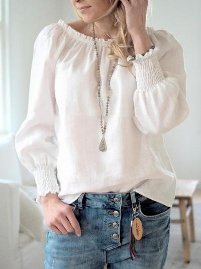 Cotton-Blend Casual Long Sleeve Solid Shirts & Tops