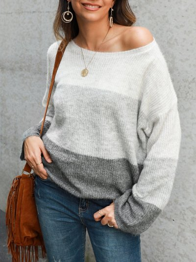 Gray White Ombre/tie-Dye Color-Block Casual Sweaters